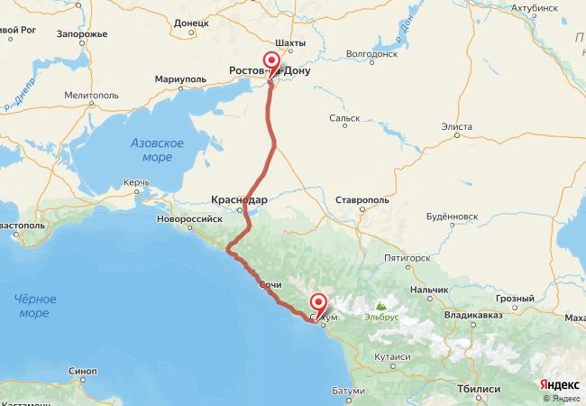 Маршрут Ростов-на-Дону - Новый Афон