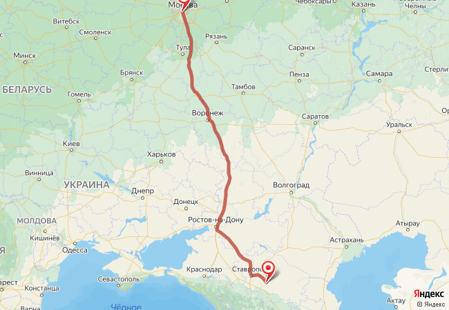 Маршрут Москва - Александровское