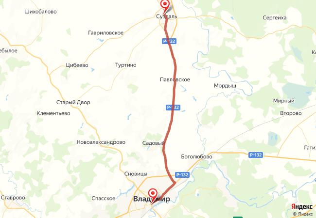 Маршрут Суздаль - Владимир