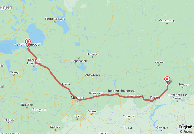 Маршрут Санкт-Петербург - Аркульский