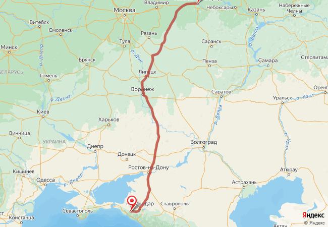 Маршрут Нижний Новгород - Абинск