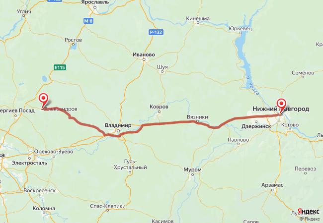 Маршрут Нижний Новгород - Александров