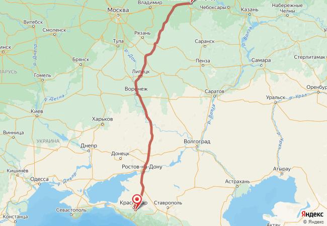 Маршрут Нижний Новгород - Адыгейск