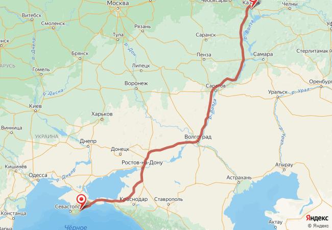 Маршрут Казань - Алушта