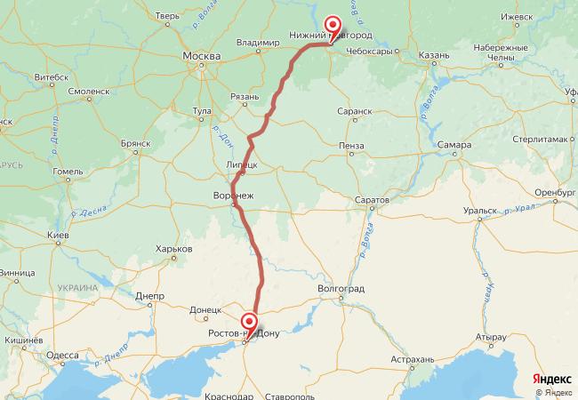 Маршрут Нижний Новгород - Аксай