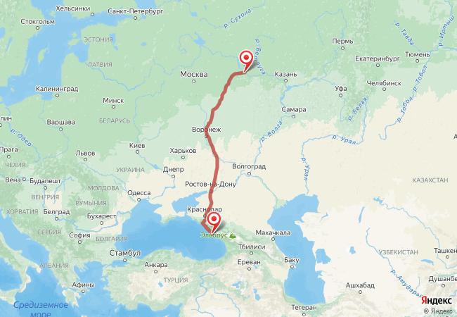Маршрут Нижний Новгород - Адлер