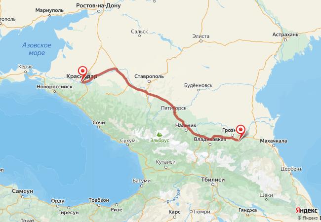 Маршрут Краснодар - Автуры