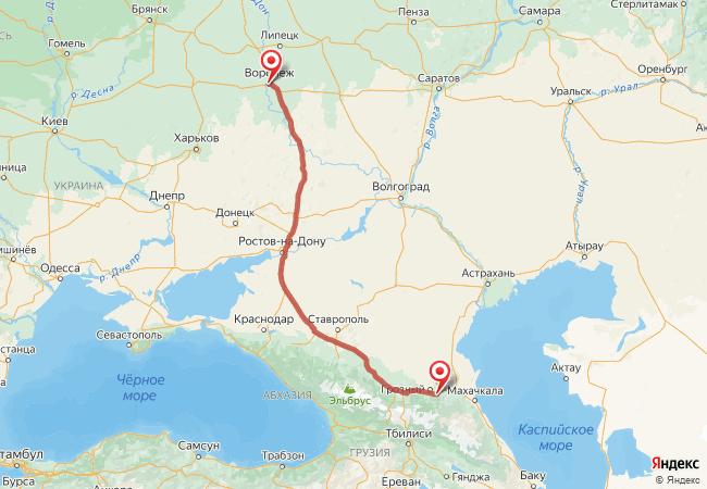 Маршрут Воронеж - Автуры