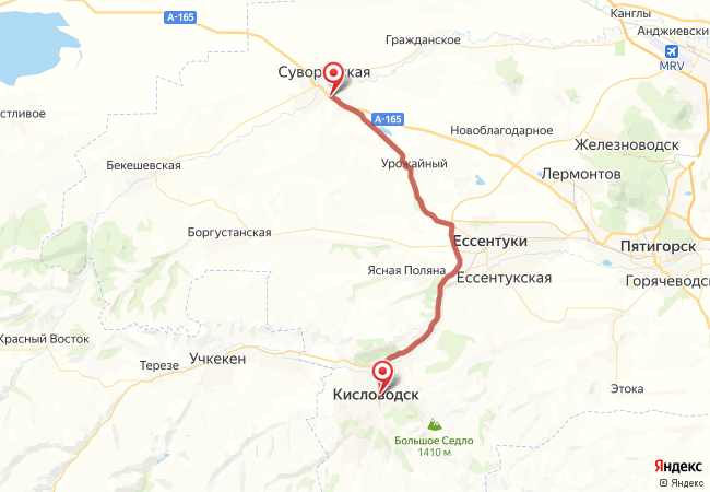 Маршрут Кисловодск - Суворовская