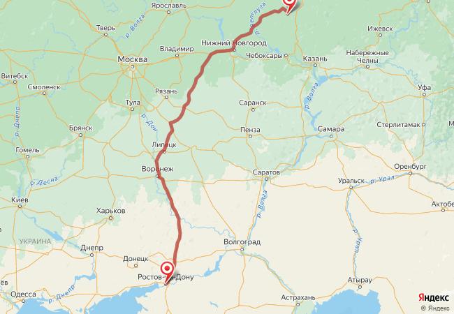 Маршрут Ростов-на-Дону - Андрияхи