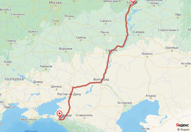 Маршрут Казань - Абинск