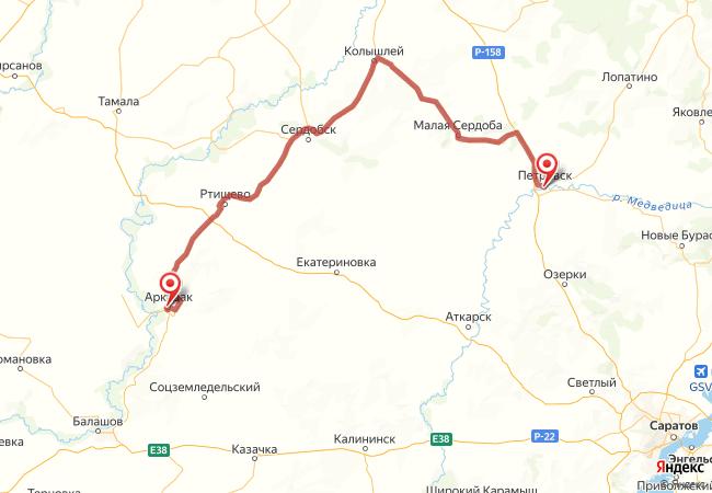 Маршрут Петровск - Аркадак
