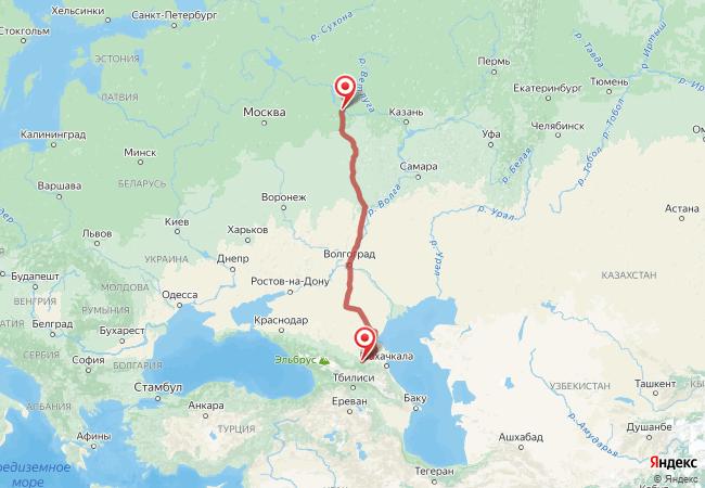 Маршрут Нижний Новгород - Алхан-кала