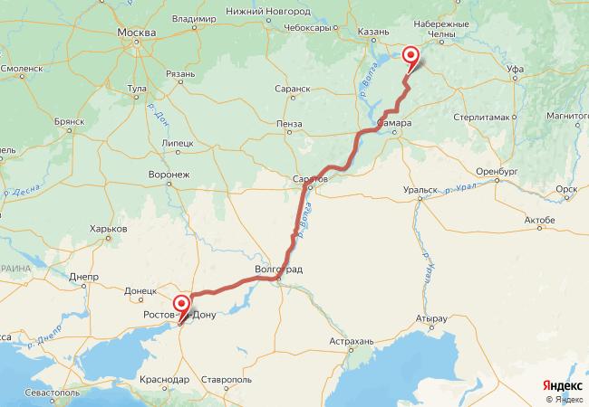 Маршрут Ростов-на-Дону - Аксубаево
