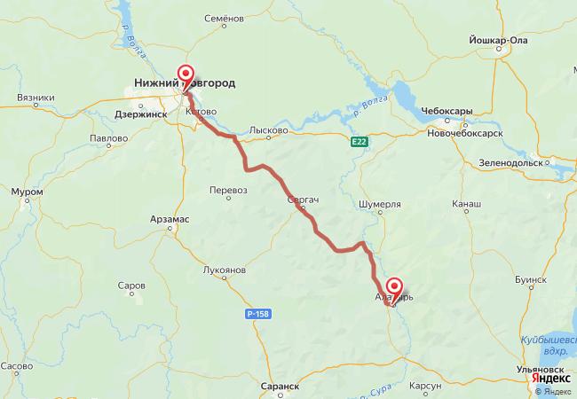 Маршрут Нижний Новгород - Алатырь