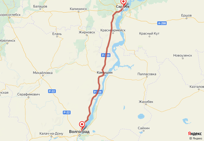 Маршрут Волгоград - Саратов