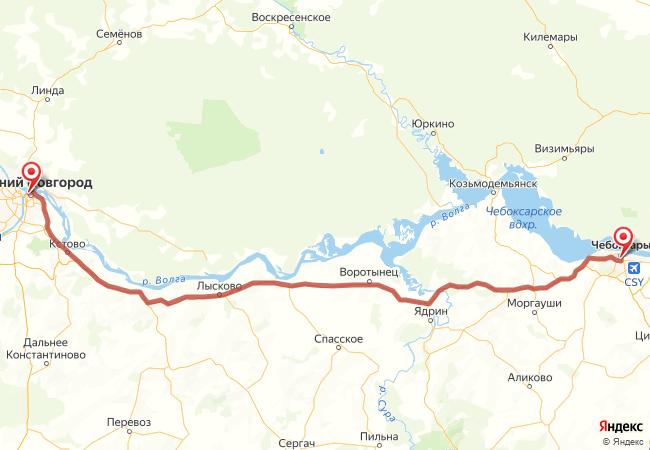 Маршрут Нижний Новгород - Чебоксары