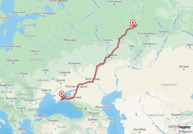 Маршрут Пермь - Крым