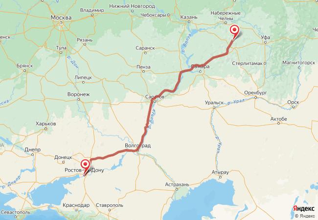 Маршрут Ростов-на-Дону - Азнакаево