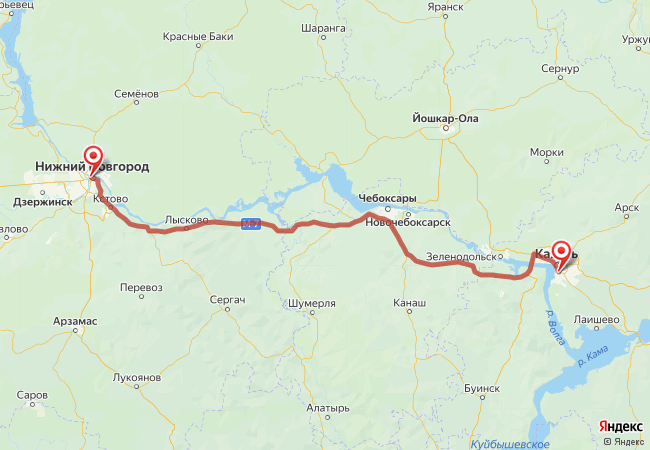 Маршрут Нижний Новгород - Казань