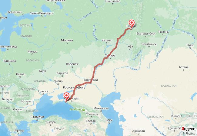 Маршрут Пермь - Анапа