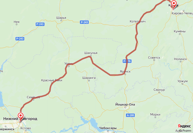 Маршрут Нижний Новгород - Киров