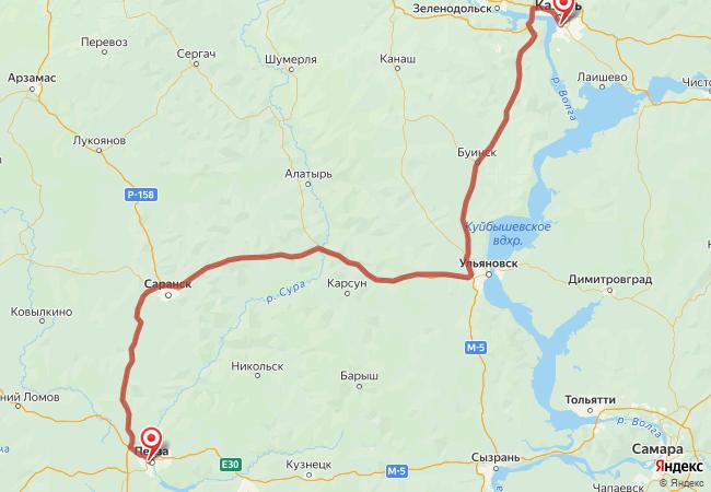 Маршрут Казань - Пенза