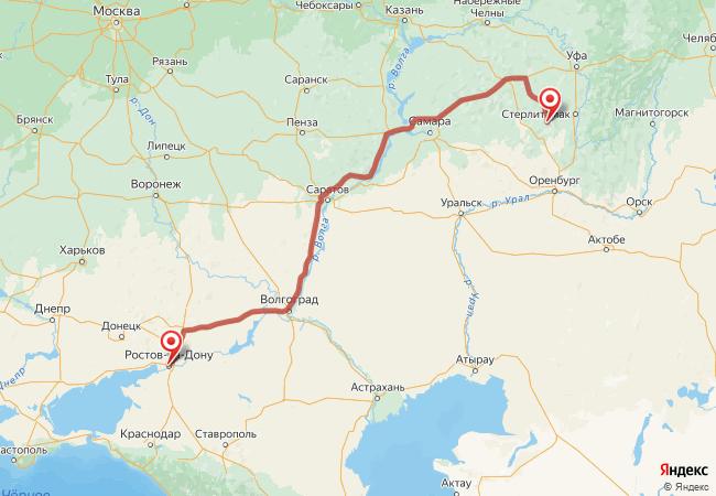 Маршрут Ростов-на-Дону - Акъяр