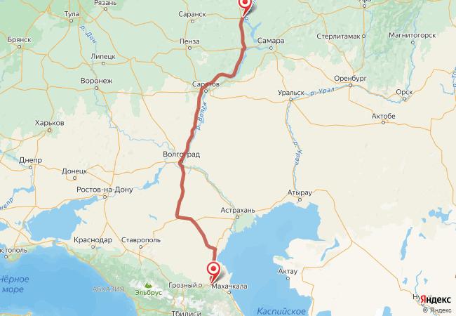 Маршрут Ульяновск - Аксай