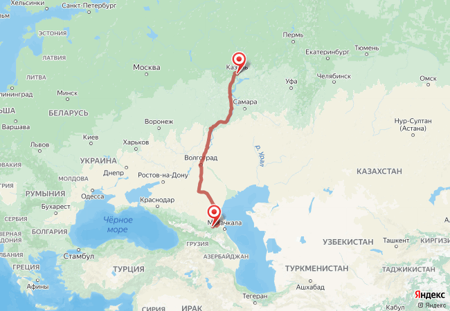 Маршрут Казань - Автуры