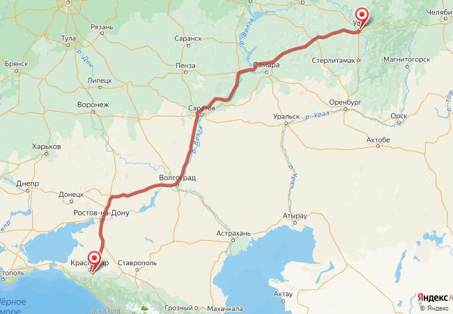 Маршрут Уфа - Адыгейск
