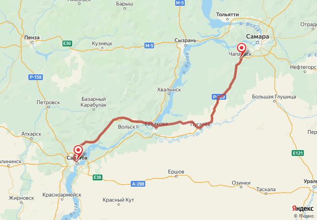 Маршрут Чапаевск - Саратов