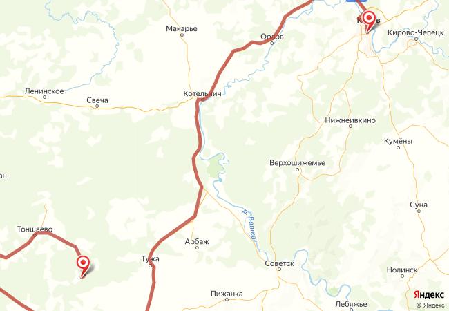 Маршрут Киров - Андрияхи