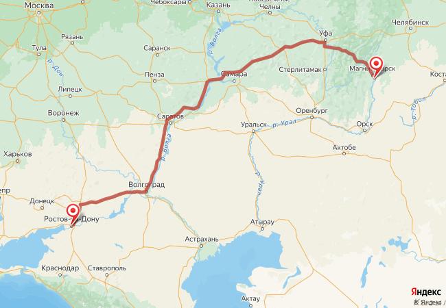Маршрут Ростов-на-Дону - Агаповка