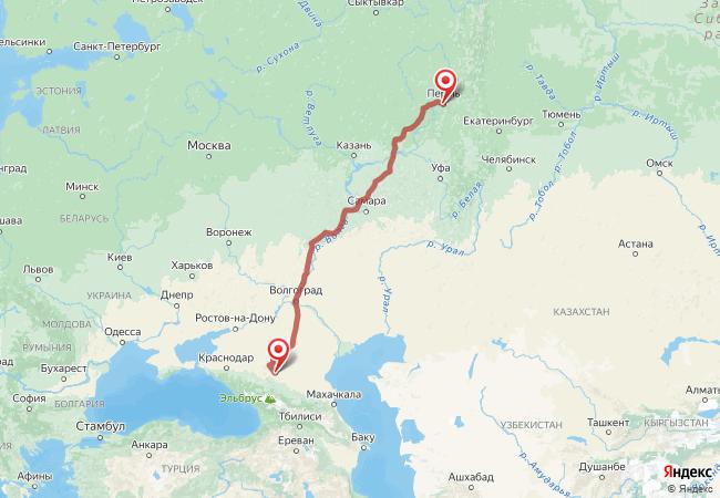Маршрут Пермь - Александровское