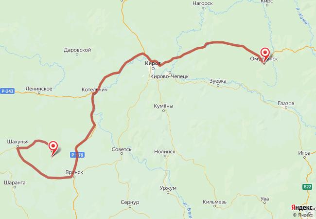 Маршрут Омутнинск - Андрияхи