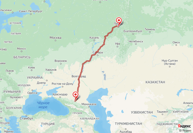 Маршрут Пермь - Александрийская