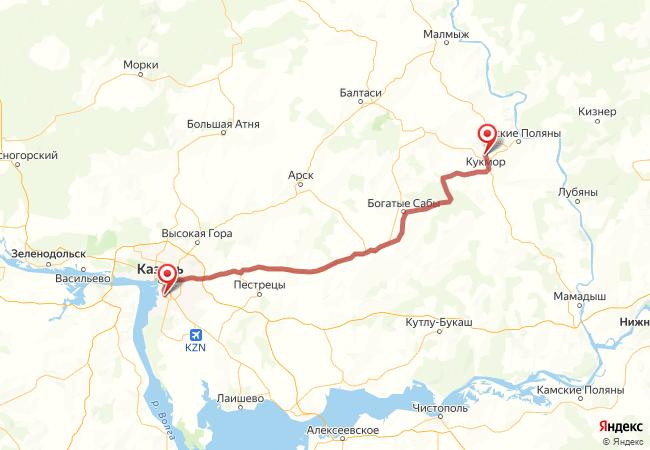 Маршрут Казань - Кукмор