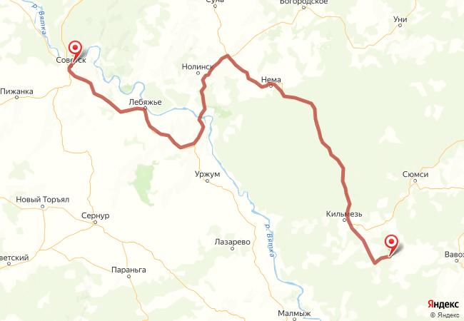 Маршрут Советск - Азиково