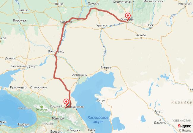 Маршрут Оренбург - Автуры