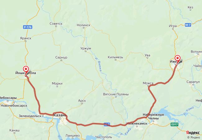 Маршрут Йошкар-Ола - Ижевск