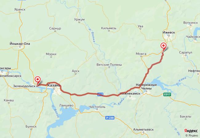 Маршрут Зеленодольск - Агрыз
