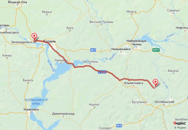 Маршрут Зеленодольск - Азнакаево