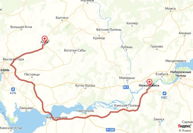 Маршрут Нижнекамск - Арск