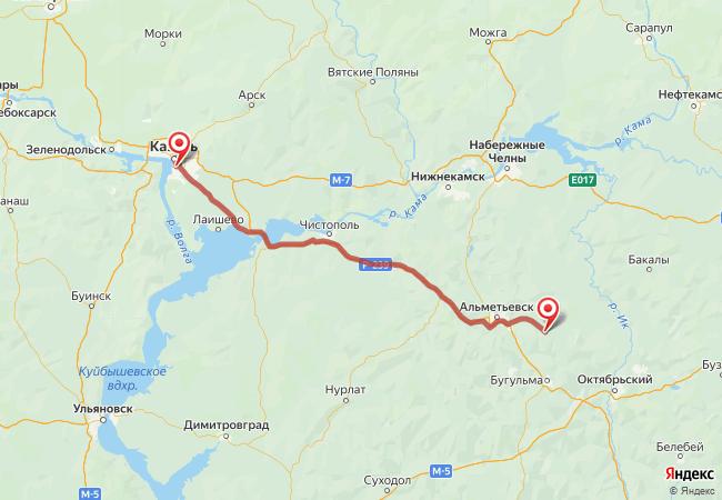 Маршрут Казань - Актюбинский