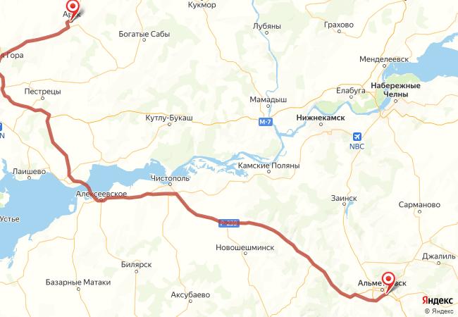 Маршрут Альметьевск - Арск