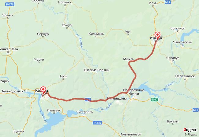 Маршрут Казань - Ижевск
