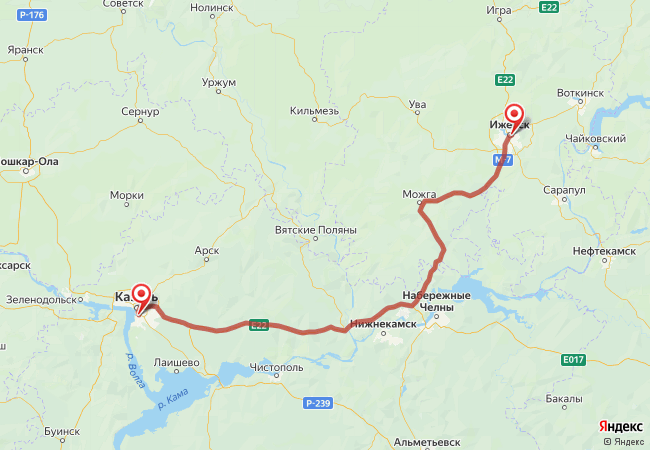 Маршрут Ижевск - Казань