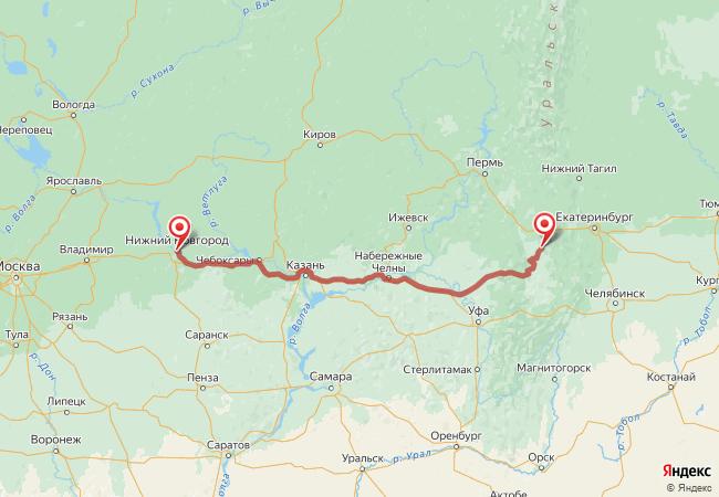 Маршрут Нижний Новгород - Арти