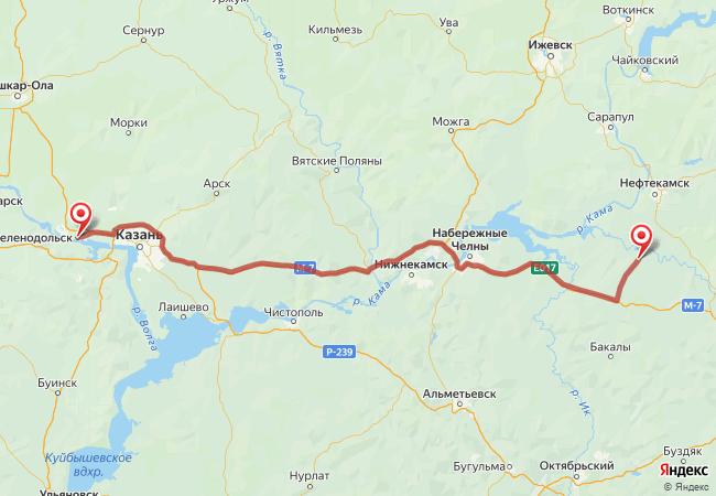 Маршрут Зеленодольск - Актаныш